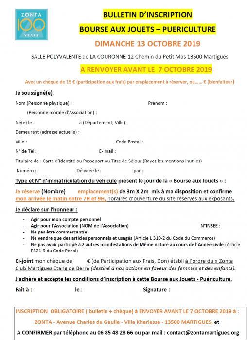 Bulletin d inscription bourse aux jouets puericulture 13 10 19